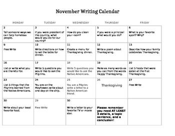 November Writing Calendar