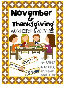 November and Thanksgiving Vocabulary Words and Center Activities