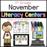 November literacy menu First Grade