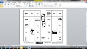 Now Showing Board Game - Kindergarten Sight Words - Common