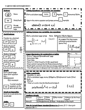 Nspire Reference Sheet