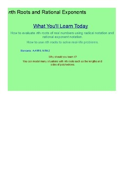 Nth Roots and Rational Exponents SmartBoard Lesson