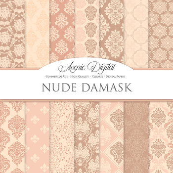 Nude Pink Damask Digital Paper patterns ornate brown weddi