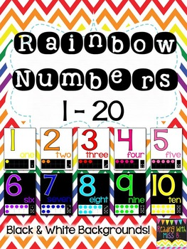 Numbers 1-20 In Rainbow Colors