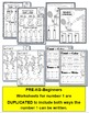 Number 1 Math Worksheets-NO PREP- Counting and Cardinality CCSS