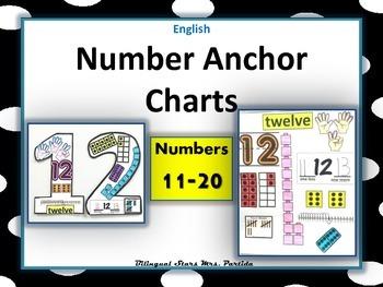 Number 11-20 Anchor Charts-Posters-English-Bilingual Stars