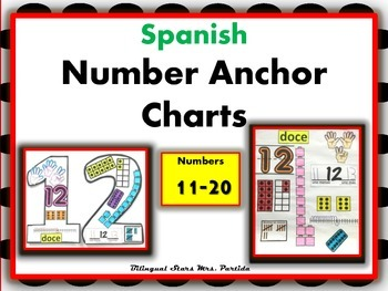 Number 11-20 Anchor Charts-Posters-Spanish-Bilingual Stars