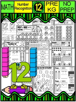 Number 12 Math Worksheets-NO PREP (PRE-KG EDITION)-Countin