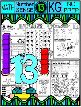 Number 13 Math Worksheets-NO PREP (KG EDITION)-Counting an