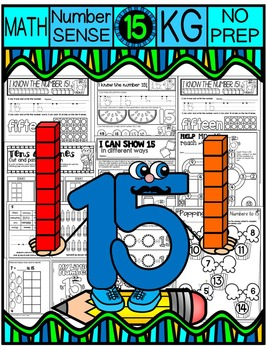Number 15 Math Worksheets-NO PREP (KG EDITION)-Counting an