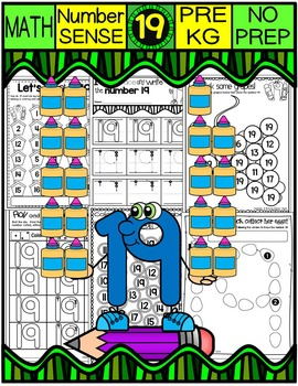 Number 19 Math Worksheets-NO PREP (PRE-KG EDITION)-Countin