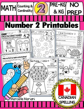 Number 2 Math Worksheets-NO PREP- CANADIAN SPELLING