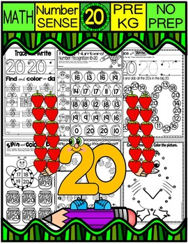 Number 20 Math Worksheets-NO PREP (PRE-KG EDITION)-Countin