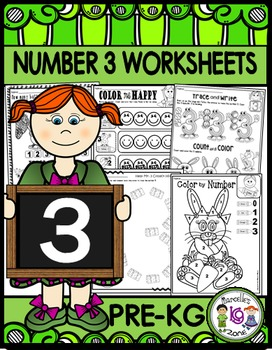 Number 3 Math Worksheets-NO PREP (PRE-KG EDITION)- Countin