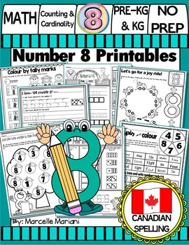 Number 8  Math Worksheets-NO PREP- CANADIAN SPELLING