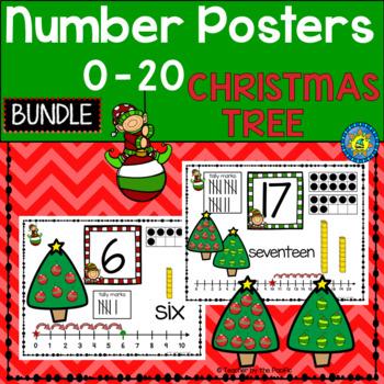 CHRISTMAS Math - Number Anchor Charts 0-10 + 11-20 {CHRIST