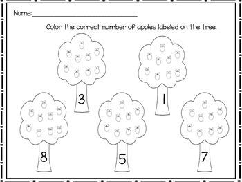 Number Apple Trees Worksheet