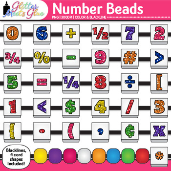Number Bead Clip Art {Counting and Sorting Manipulatives f