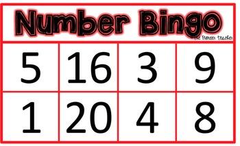 Number Bingo (Recognizing Numbers 1-20)