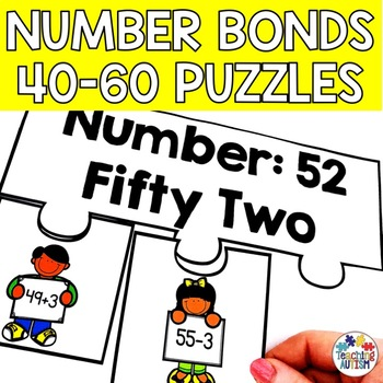 Number Bond Puzzles, Jigsaws, 40-60