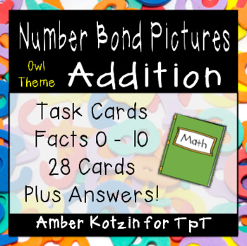 Picture Addition Number Bonds Task Cards Owl Style (Common