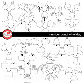 Number Bonds Holiday Clipart by Poppydreamz