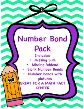 Number Bonds Pack- Great for Math Fact Center