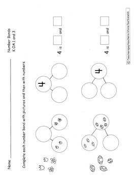 Number Bonds Practice Pages Decomposition Composition of N