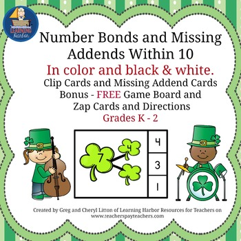Number Bonds and Missing Addends within 10 St. Patrick's D
