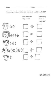 Number Bonds to 10. Hand-drawn worksheet 2