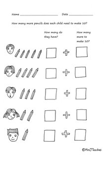 Number Bonds to 10. Hand-drawn worksheet