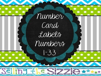 Number Card Labels- Blue Green Gray Themed