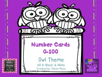 Number Cards 0-100-->Owl Theme!