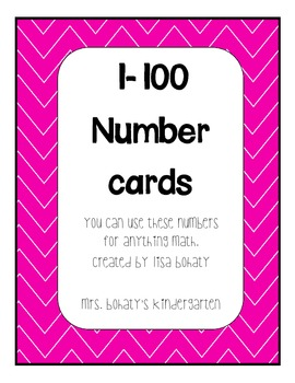 Number Cards 1-100 Bright Colors