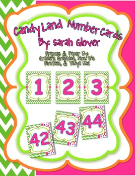 Number Cards in Candy Land Colors