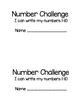 Number Challenge mini book 1-10 Scaffolded