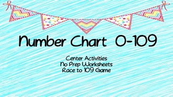 Number Chart 0-109 Activities