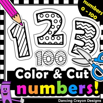 Number Clipart with Cutting Lines