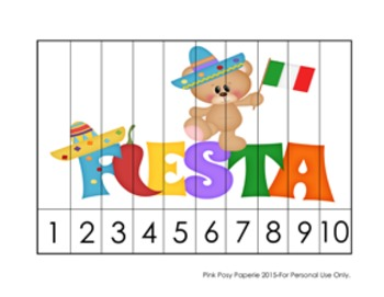 Number Counting Strip Puzzles Cinco de Mayo - 5 Designs
