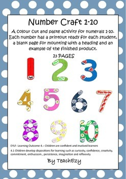 Number Craft Preschool 1 to 10
