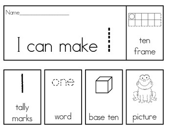 Number Flip Books 1-20 With Ten Frames, Tally Marks, Base