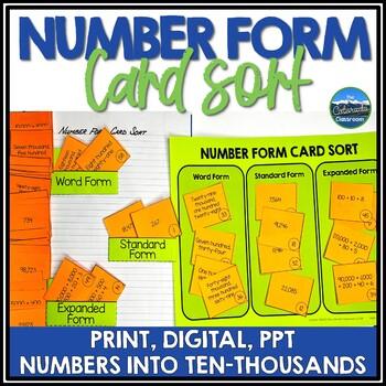 Number Form Card Sort - Standard, Expanded, & Word Form
