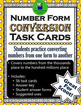 Number Form Conversion Task Cards