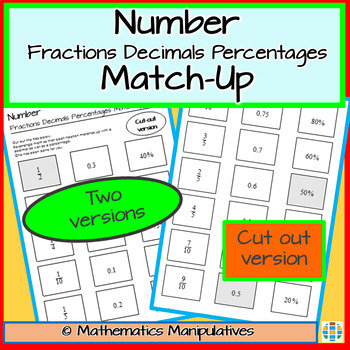 Number Fractions Decimals Percentages Match-Up