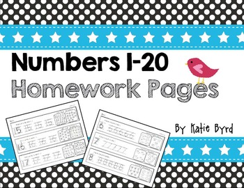 Numbers 1-20 Homework Pages  ~ Number writing and counting