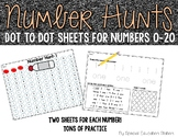 """Numbers 0-20: Dot-to-Dot """"Number Hunt""""  Sheets and Practice Pages"""