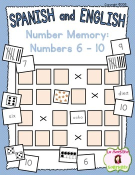 Number Identification: Math Memory Game with 6-10 (Spanish