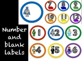 Number Labels: Lego like block themed