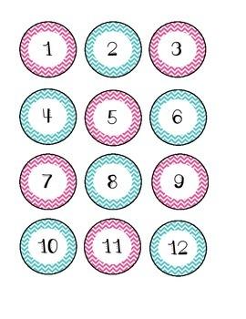 Number Labels - Pink and Aqua Chevron