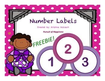 Number Labels - Polka Dots